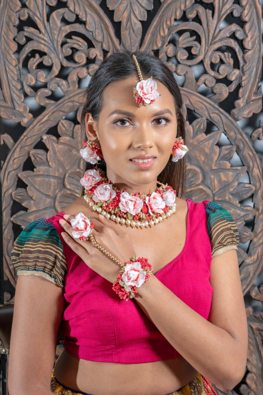 || SVANA || Red & Pearl Floral Jewellery with Earrings, Tikka & Hand Piece