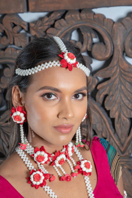 || KIERA || Red & White Princess Floral Jewellery with Earrings, Tikka & Hand Piece