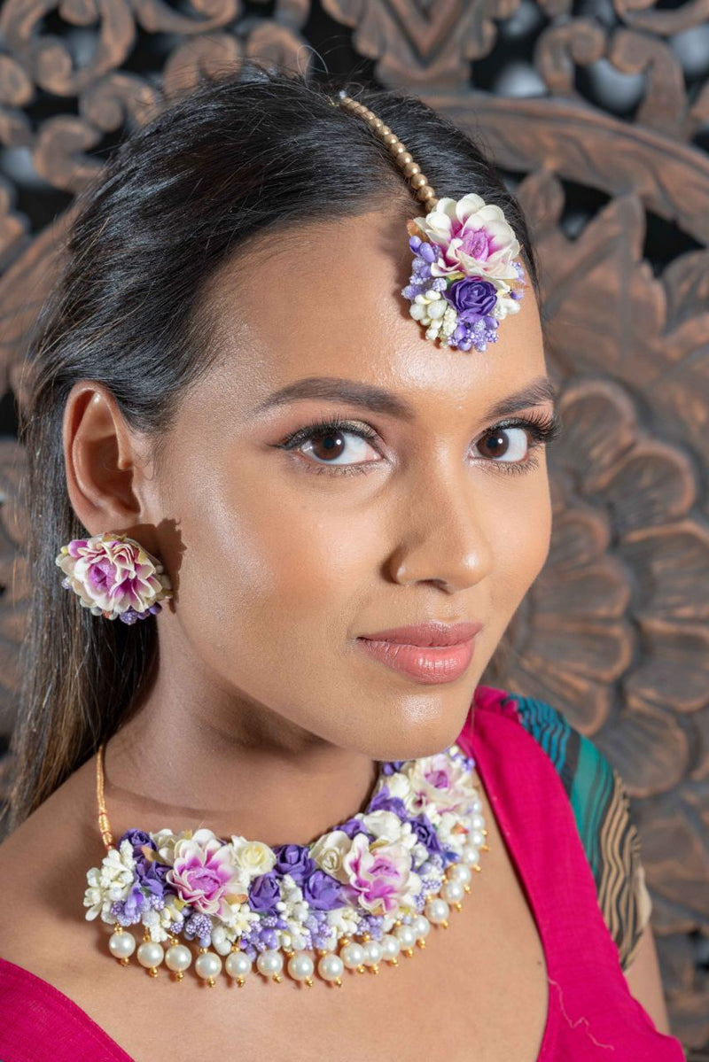 || NOOR || Purple & White Princess Floral Jewellery with Earrings, Tikka & Hand Piece