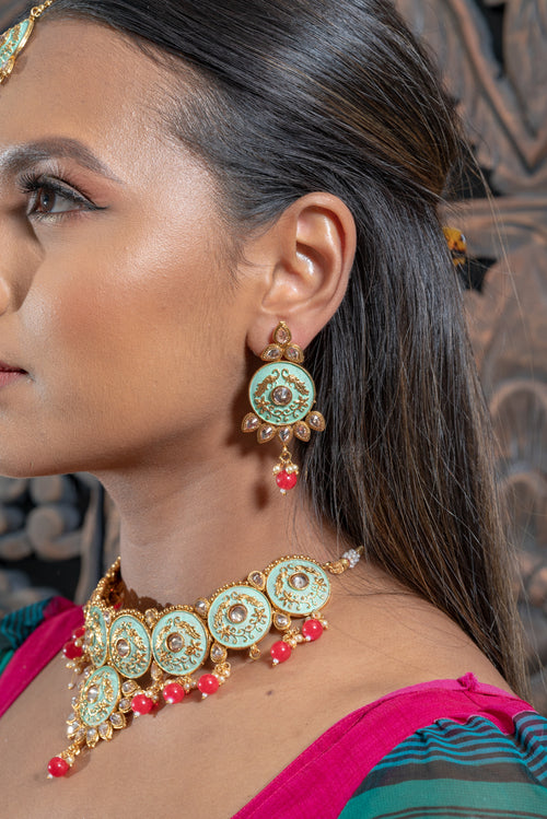 || AZORA || Yellow Gold Indian Meenakari Necklace with Earrings & Tikka with Red Beads