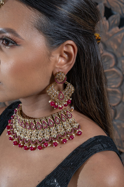 || AZORA  || Magenta Indian Choker Necklace with Earrings & Tikka