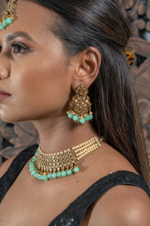 || CALITHEA || Dusty Blue & Gold Necklace Set with Earrings & Tikka