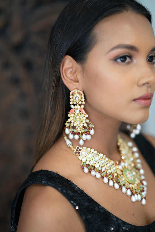 || GIA || Long Meenakari Necklace with Green, Red & White Beads with Earrings