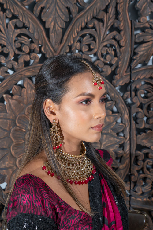 || CINI || Red Gold Bridal Heavy Necklace Set with Earrings and Tikka