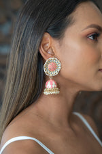 Round Light Pink Meenakari Jhumka Earrings