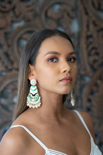 Green & Creme Meenakari Dangling Pearl Earrings