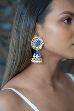 Round Royal Blue Meenakari Jhumka Earrings