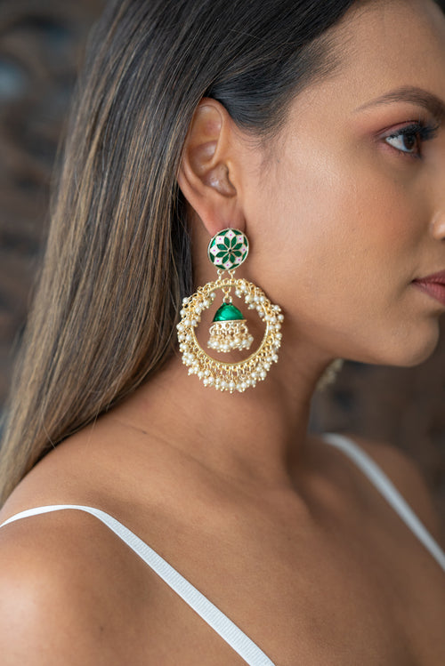 Gold Hoop Earrings with Green Small Jhumkas
