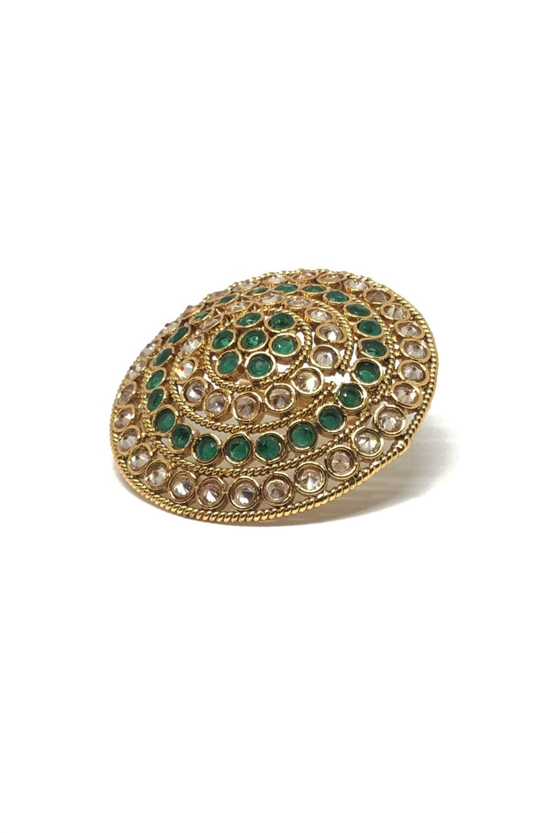 Large Green Ring with Clear Stones