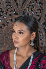|| BRINDA || Silver Long Necklace with Jhumka Earrings & Tikka