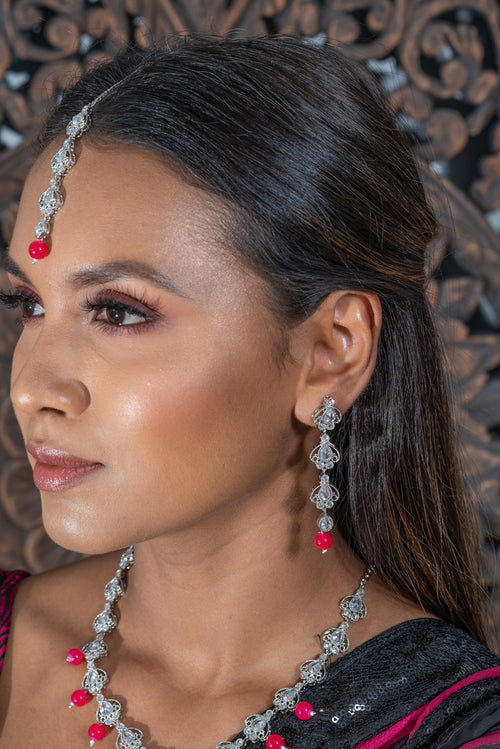 || CHARITA RED || Silver Necklace with Earrings & Tikka with Red Beads