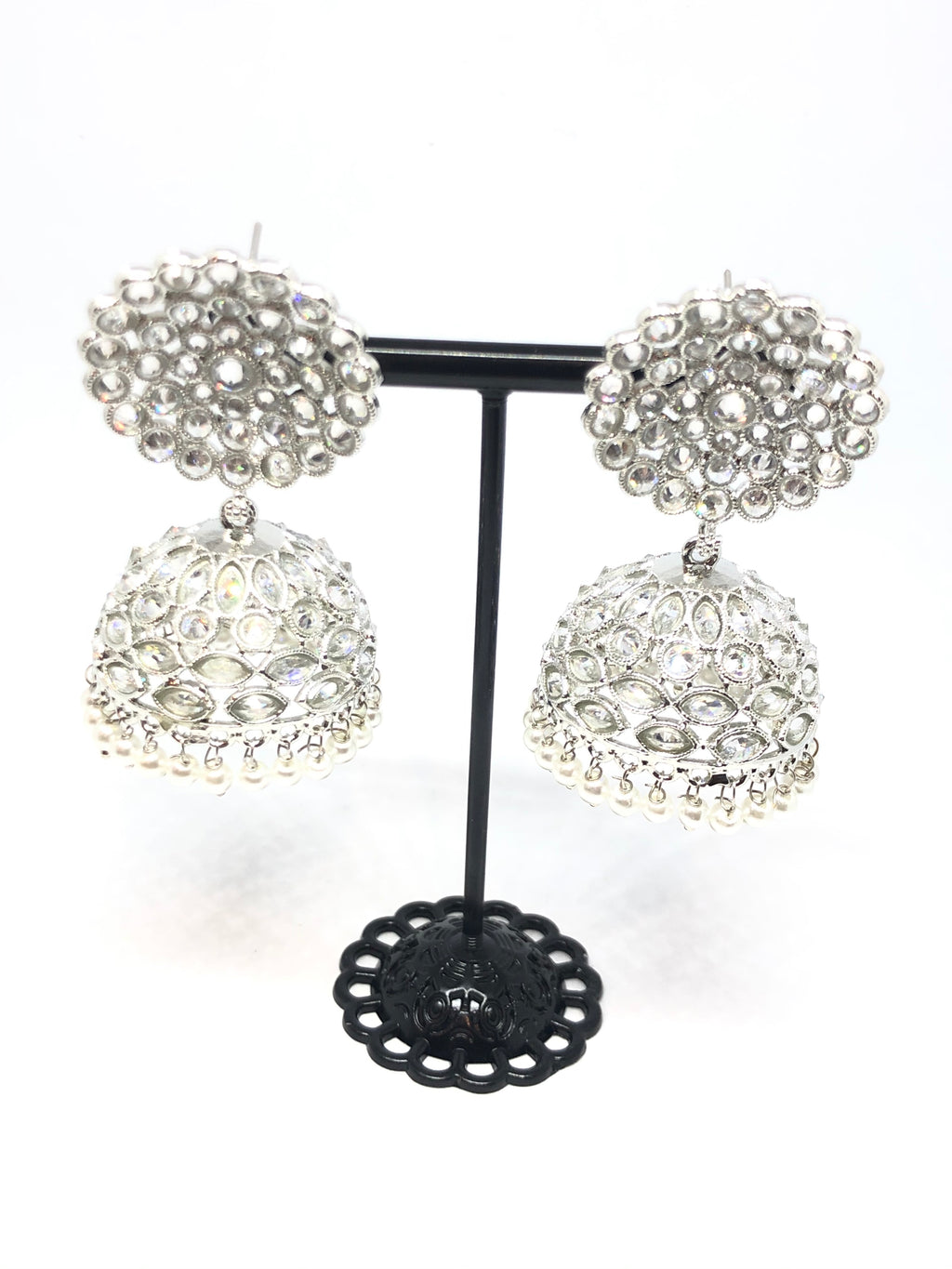 Silver Indian Big Jhumkas Round with White Pearls