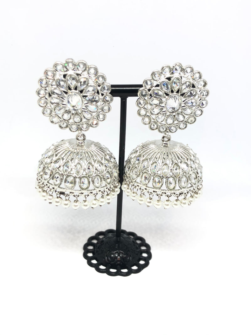 Silver Indian Big Jhumkas with White Pearls