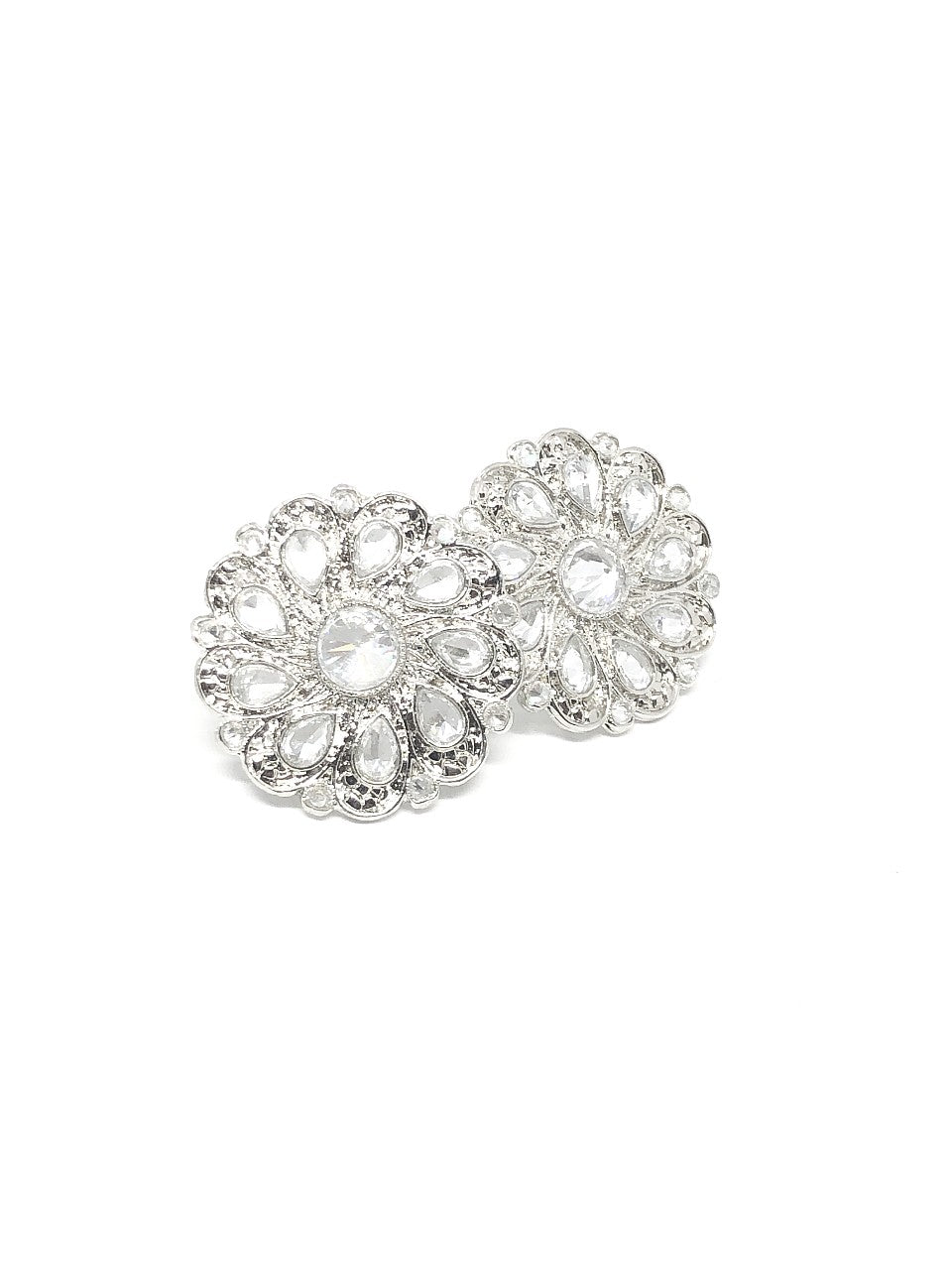 Silver Round Floral Shape Indian Studs