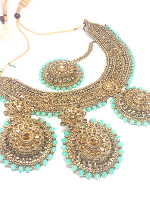 || NISHA || Pastel Blue Necklace with Earrings & Tikka and Gold Stones