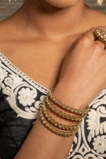 Gold Indian Bangles with Champagne Stones
