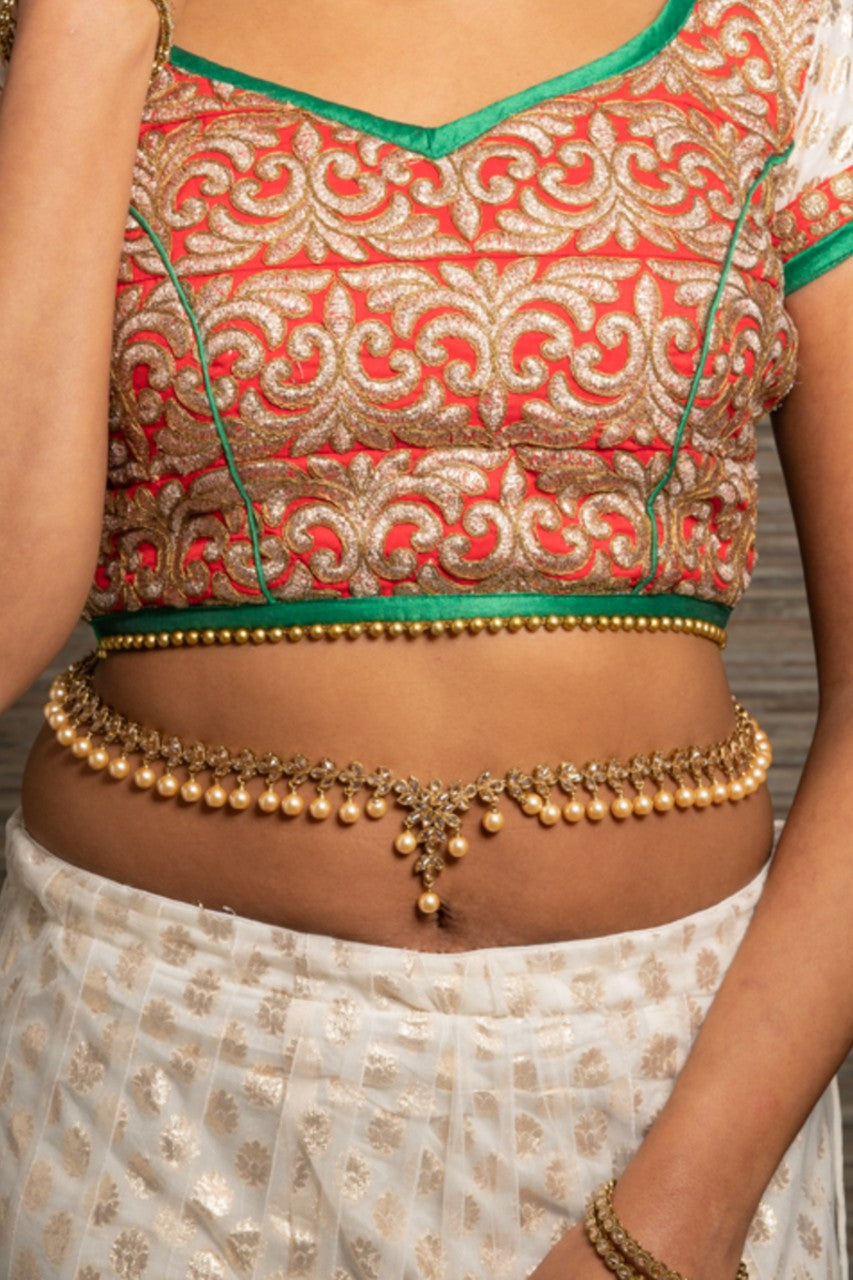 || CHANDA || Indian Saree Belt or Haar Champagne Pearls