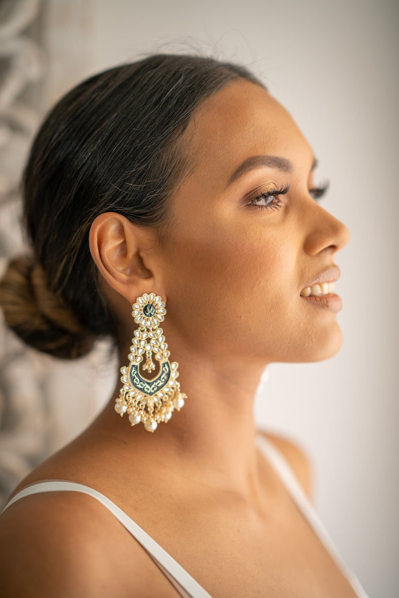 Black Meenakari Dangling Pearl Earrings