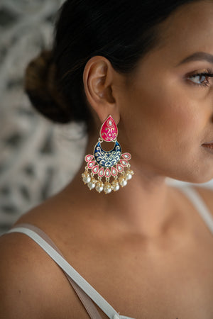 Blue & Pink Meenakari Dangling Pearl Earrings