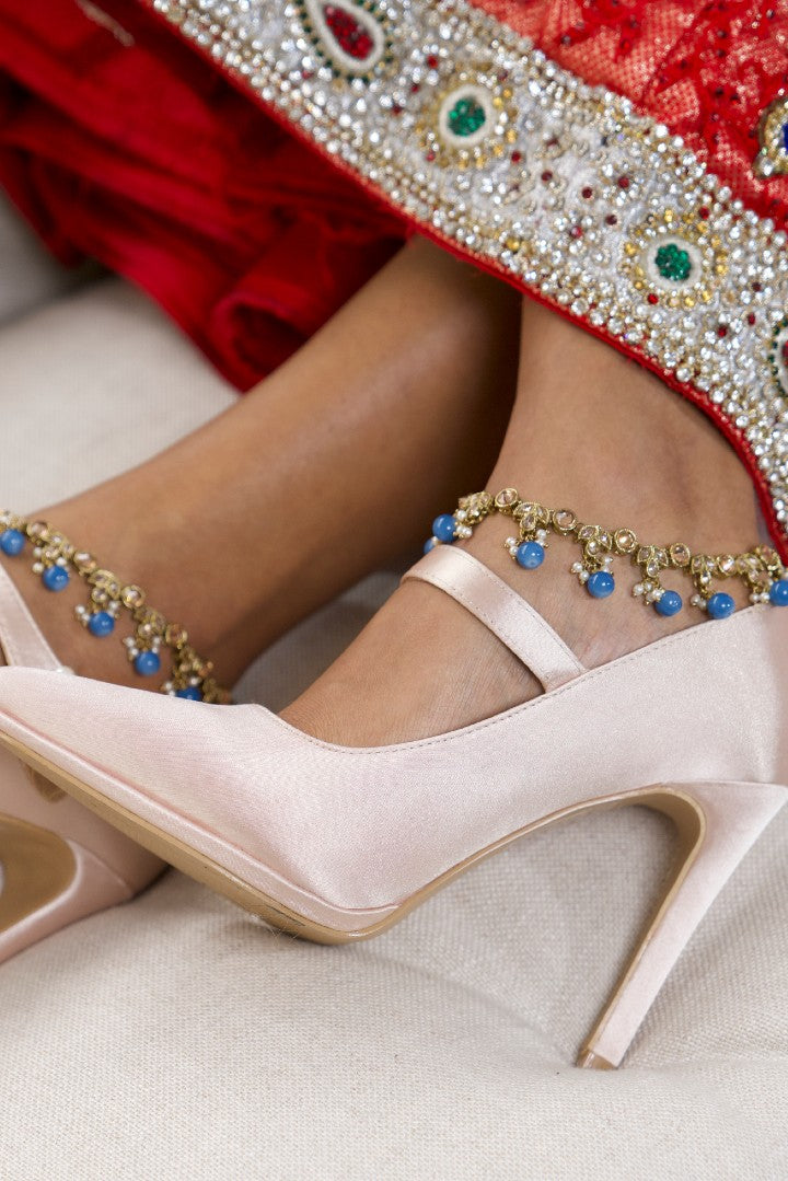 Gold Indian Anklets (Payal) with Blue Beads