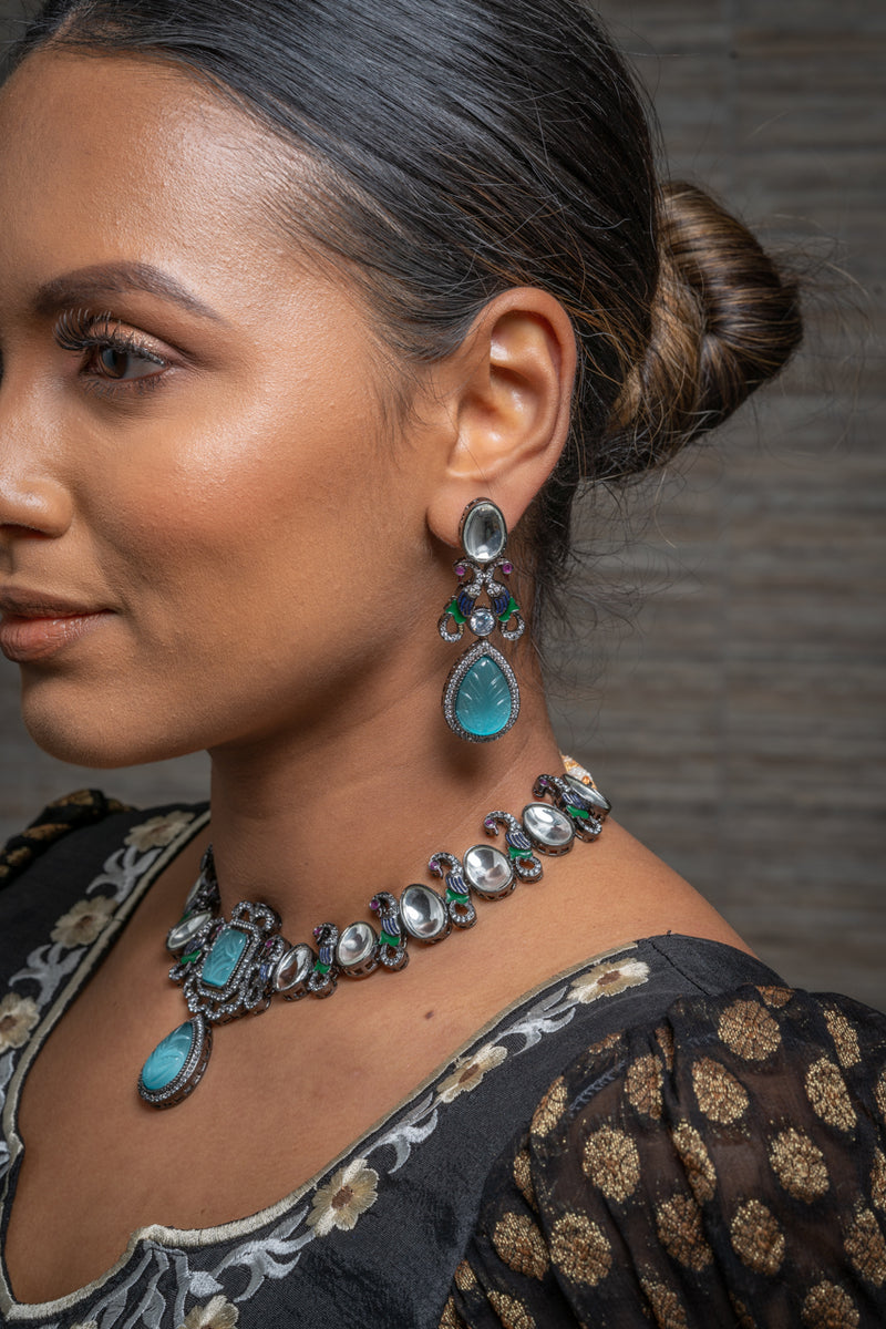 || PRIDE || Blue Western Style Necklace with Earrings in Kundan Style Stones