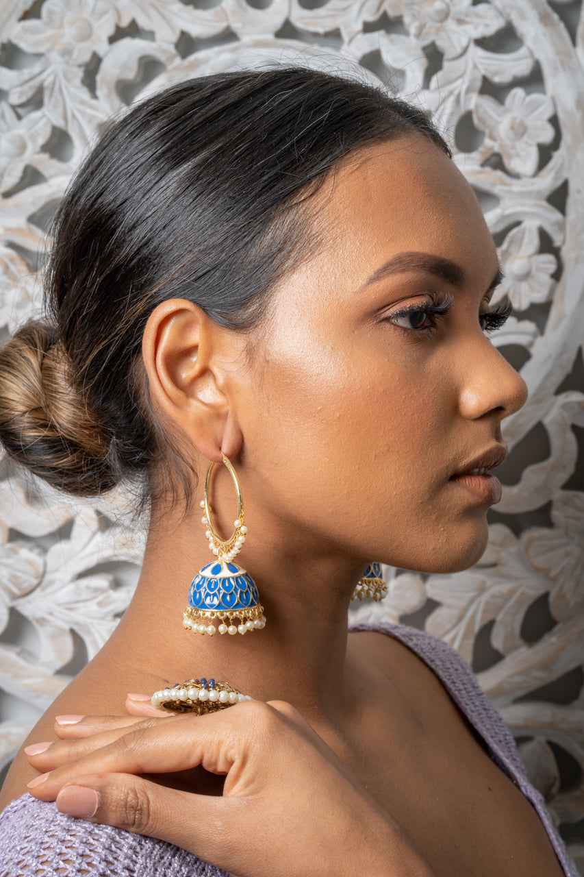 Blue Meenakari Hoop Jhumka Earrings