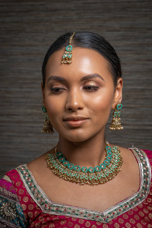 || RHEA || Blue Gold Meenakari Indian Necklace, Earrings & Tikka