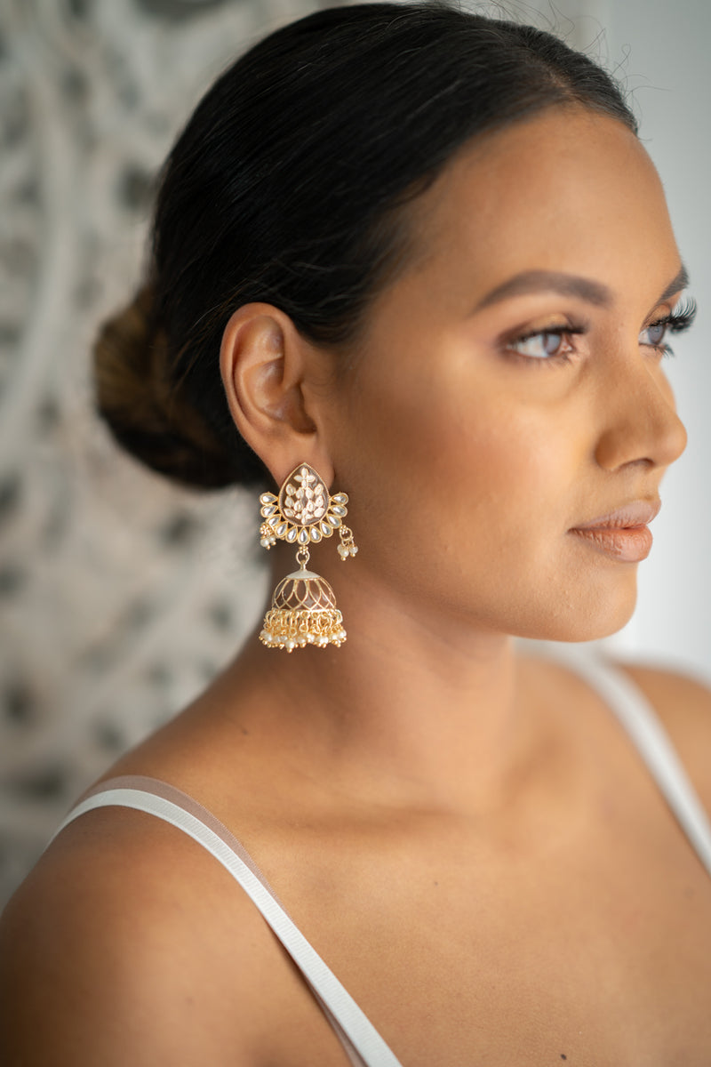 Brown Meenakari Jhumka Earrings
