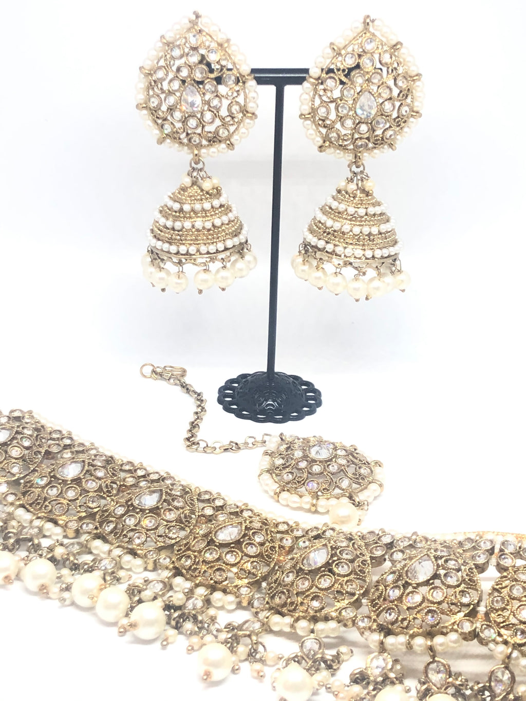 || ANIKA || Choker Necklace with Earrings & Tikka and White Pearls & Stones