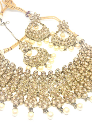 || PARVATI || Necklace with Earrings & Tikka and White Pearls & Polki Stones