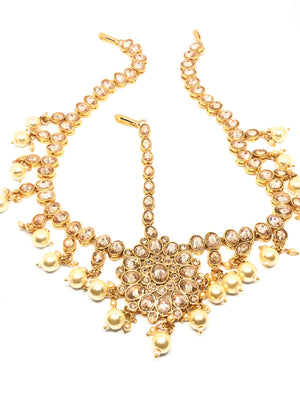 Yellow Gold Damini Tikka with Clear Stones