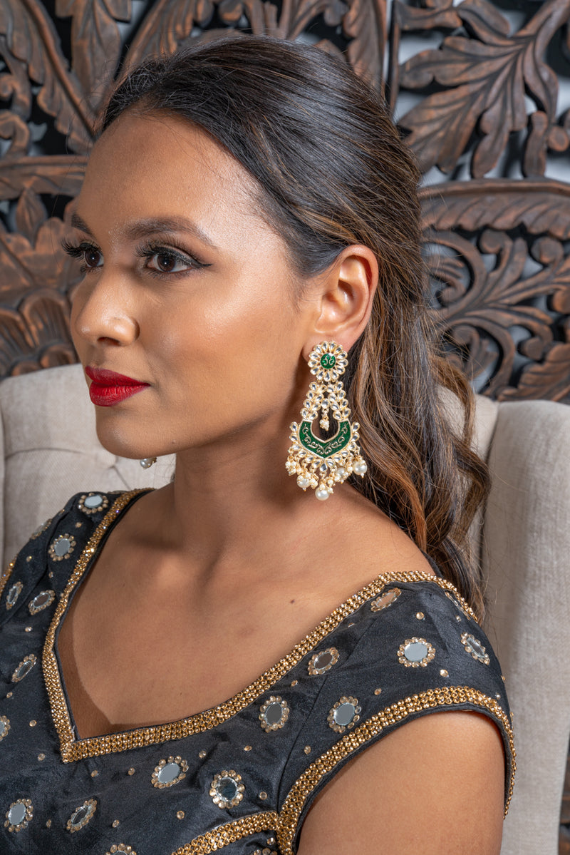 Dark Green Meenakari Dangling Pearl Earrings