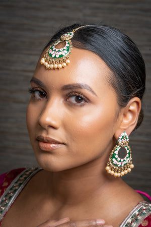 Green Meenakari Earrings & Tikka Set