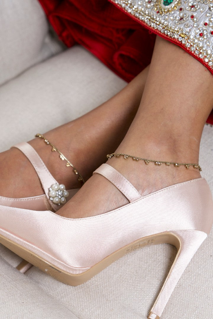 Simple Gold Anklets with Champagne Stones