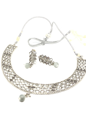 || AASHA GREY || Silver Necklace & Earrings Set with Grey Glass Beads