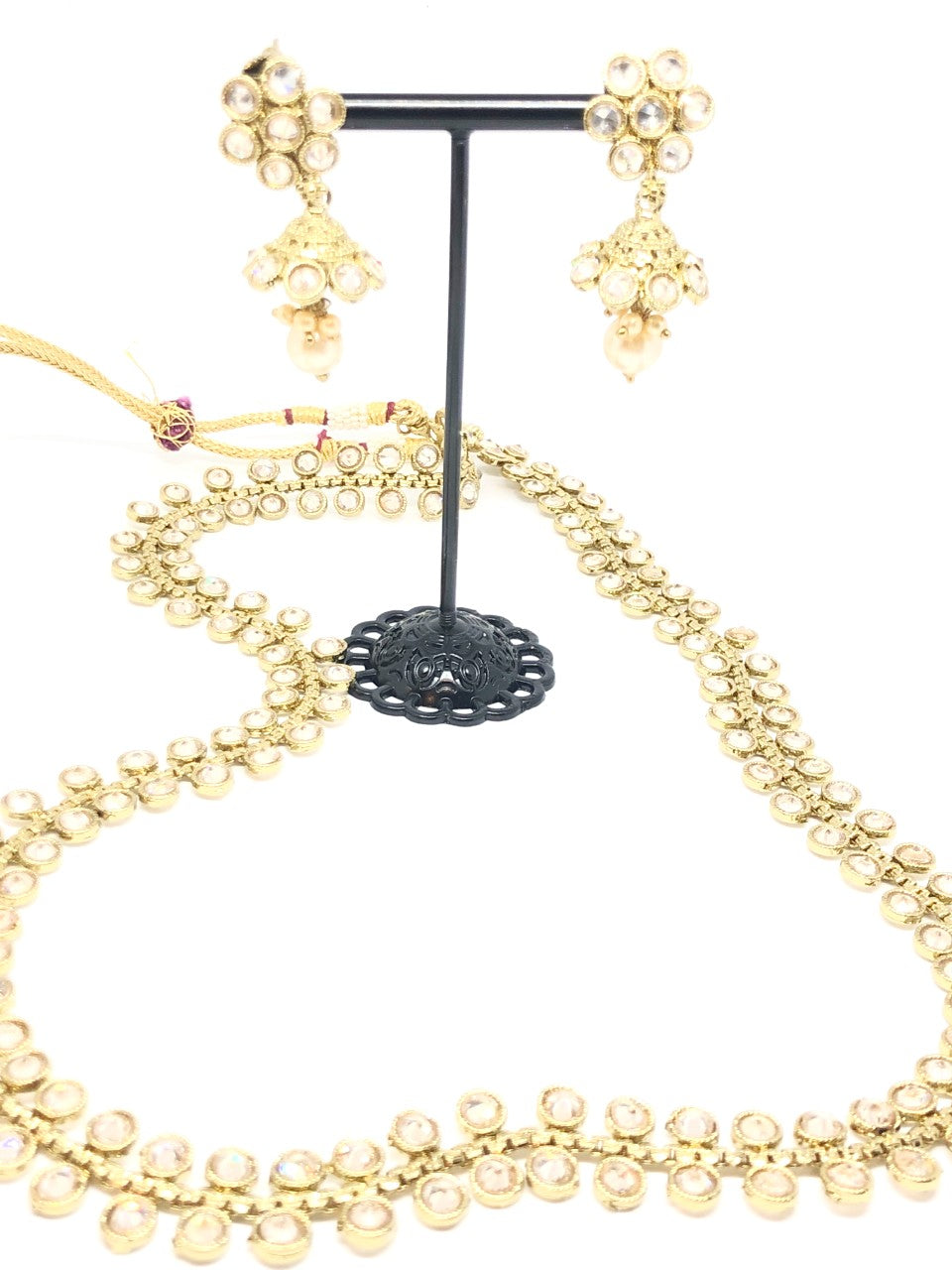 || JHANSI GOLD || Indian Long lightweight Necklace with Earrings