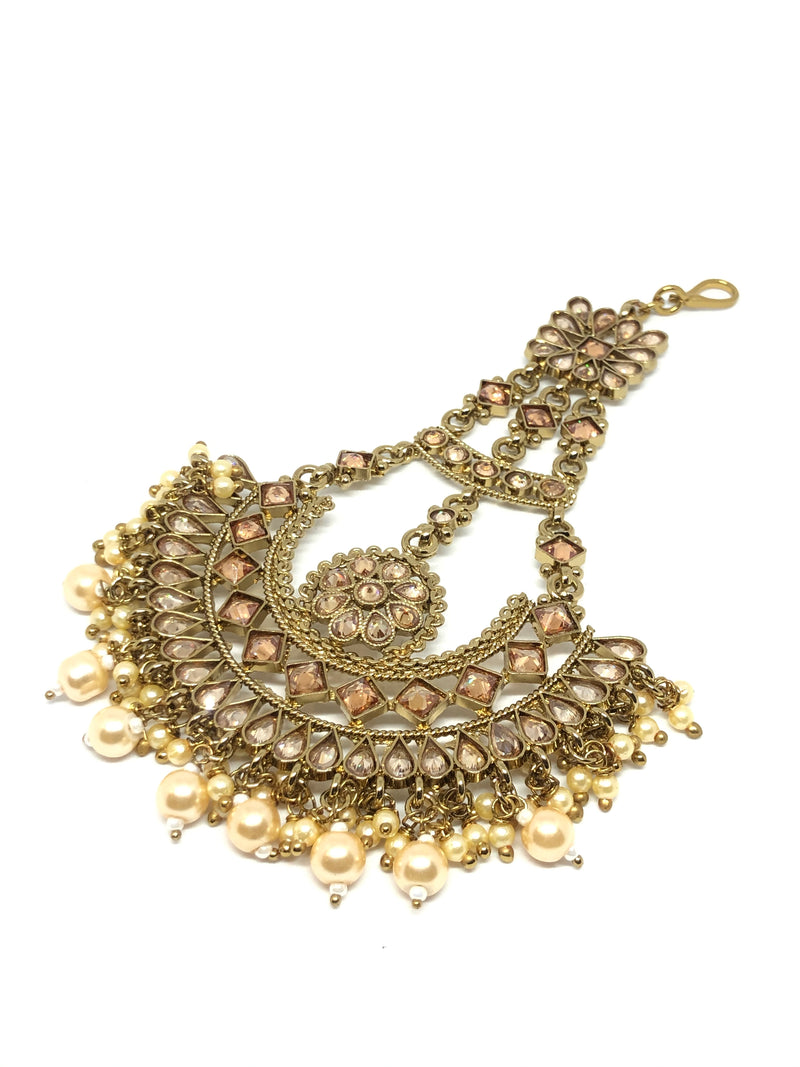 Jhoomar/Large Tikka Gold with Champagne Stones & Pearls