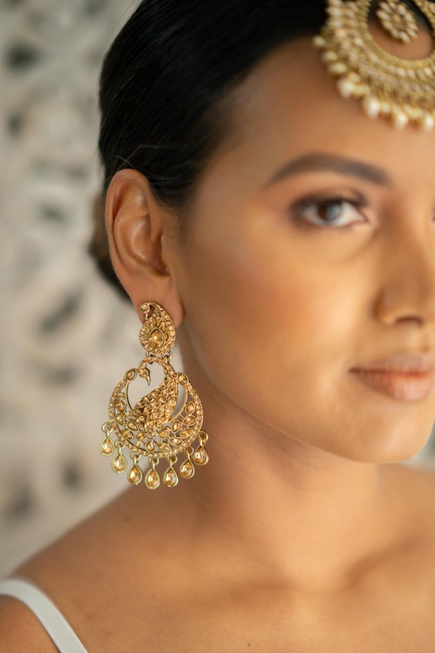 Gold on Gold Peacock Earrings