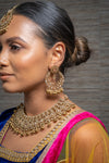 || RUHI || Gold on Gold Necklace with Earrings & Tikka with Champagne Stones