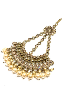 Jhoomar/Small Tikka Gold with Champagne Stones & Pearls