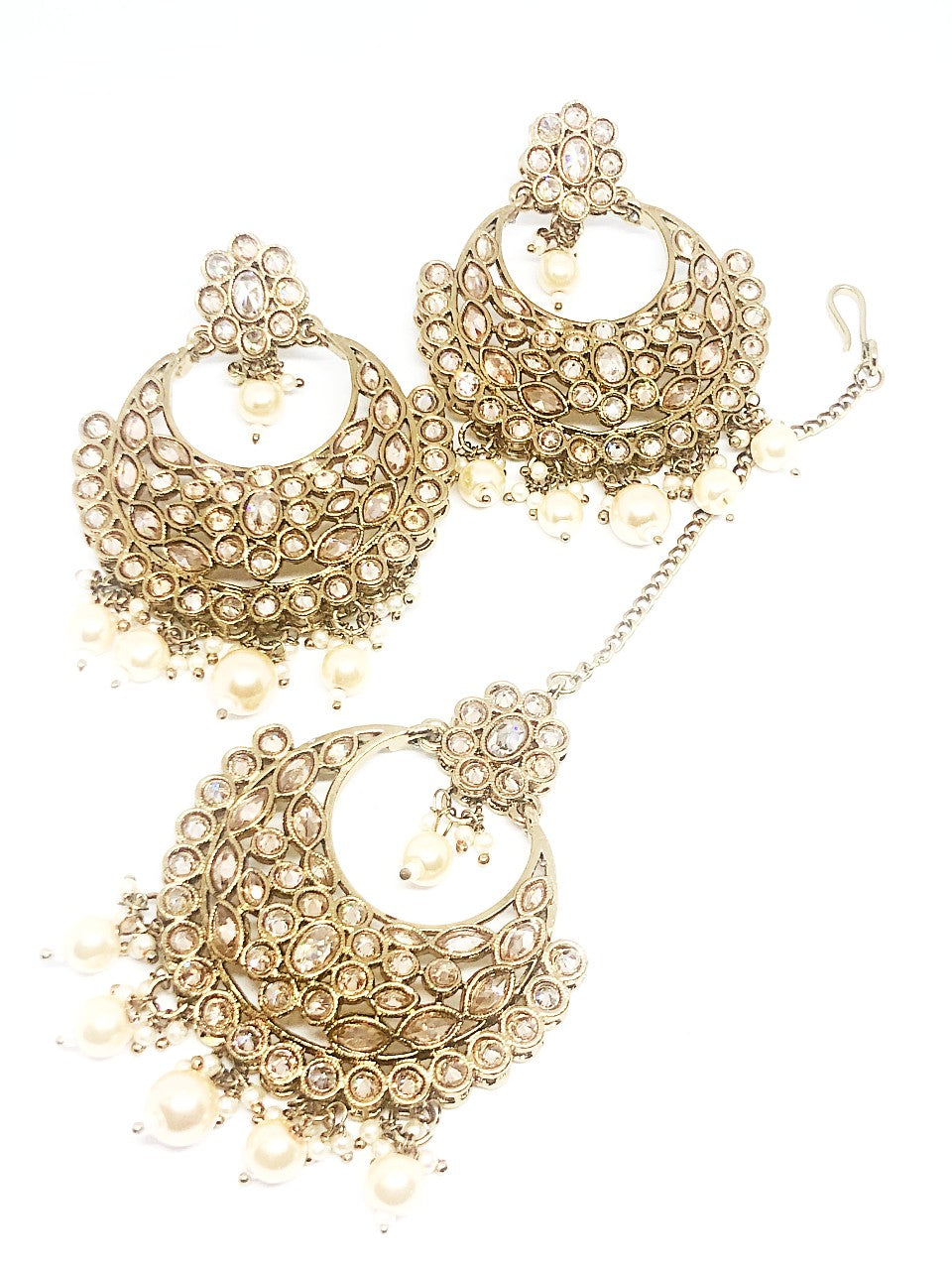 || KHOOB || Gold Tikka with Earrings with Champagne Stones