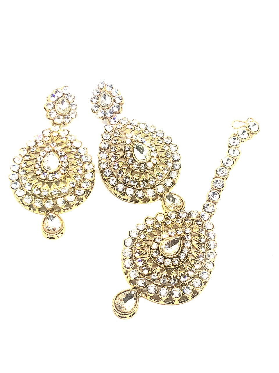 || SHAKTI || Yellow Gold Tikka with Earrings with White Stones