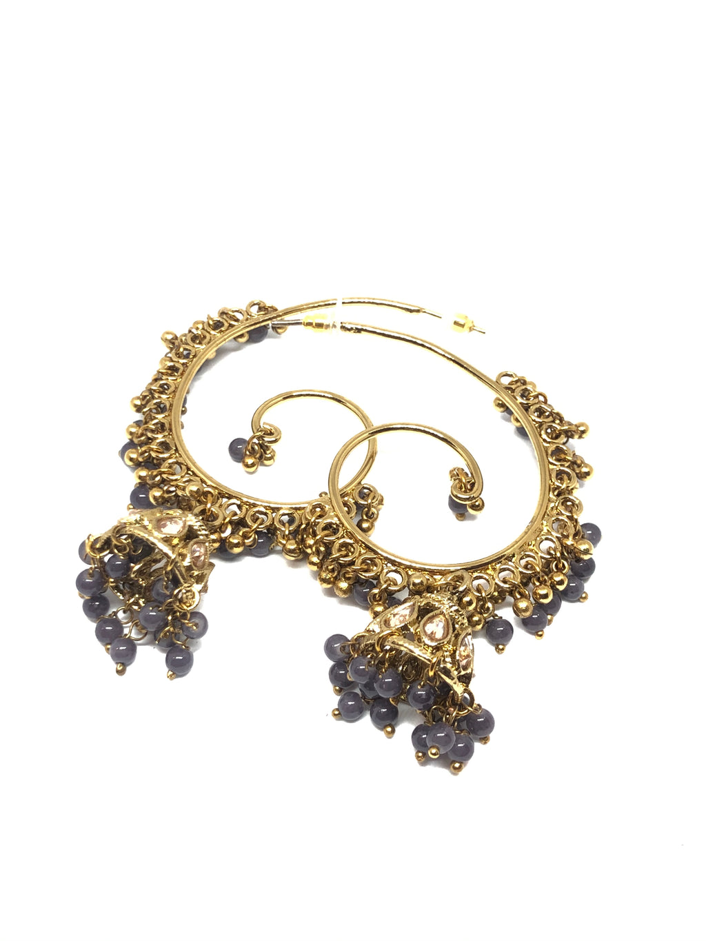 Grape Gold Plated Indian Hoops