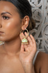 Lime Meenakari Hoop Jhumka Earrings