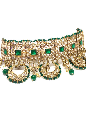 || HEMA || Green Choker Necklace with Earrings & Tikka