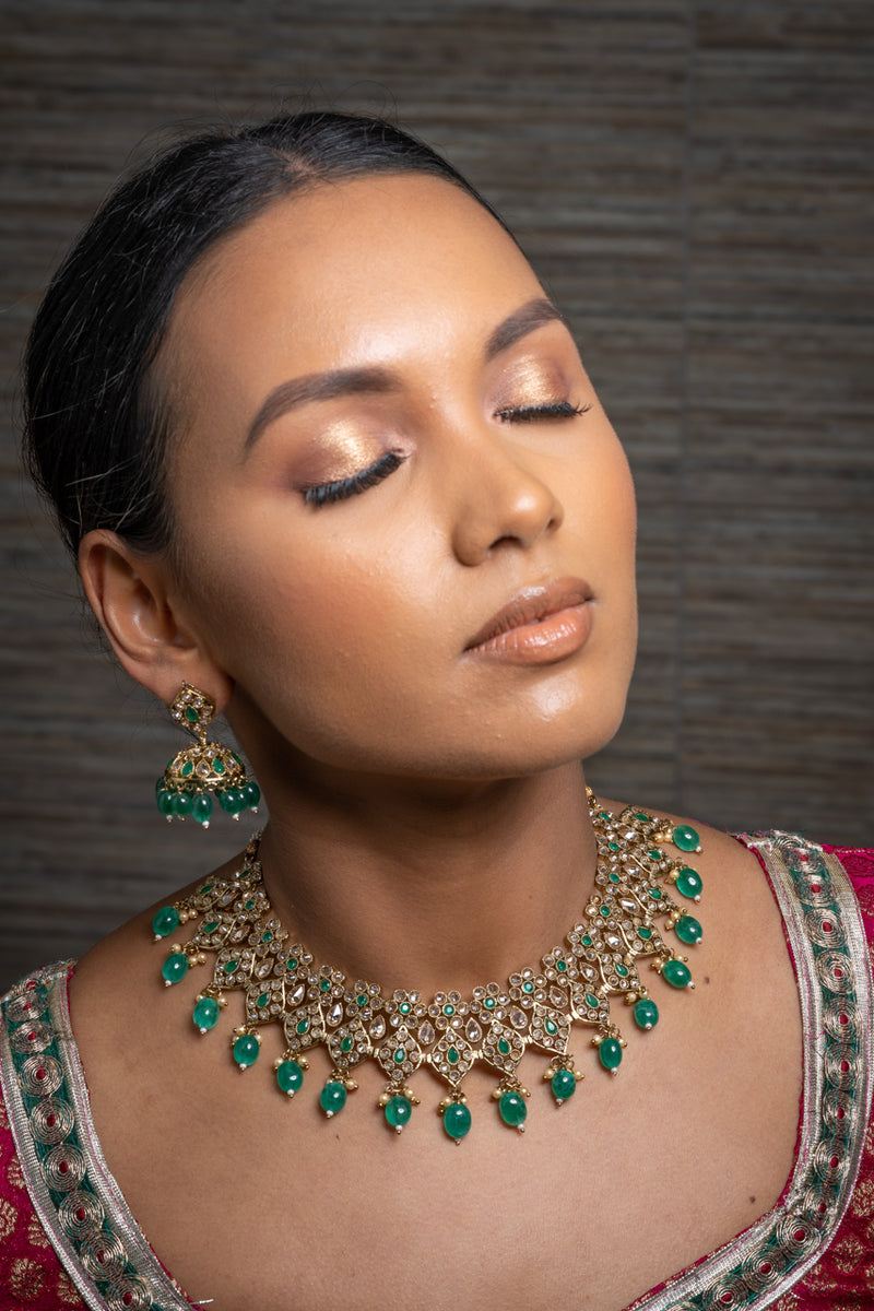|| DEVYA GREEN || Green & Gold Beaded Necklace & Jhumka Earrings Set