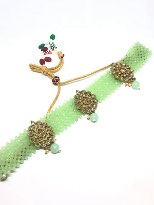 || GANGA || Green Beaded Choker with Earrings & Tikka