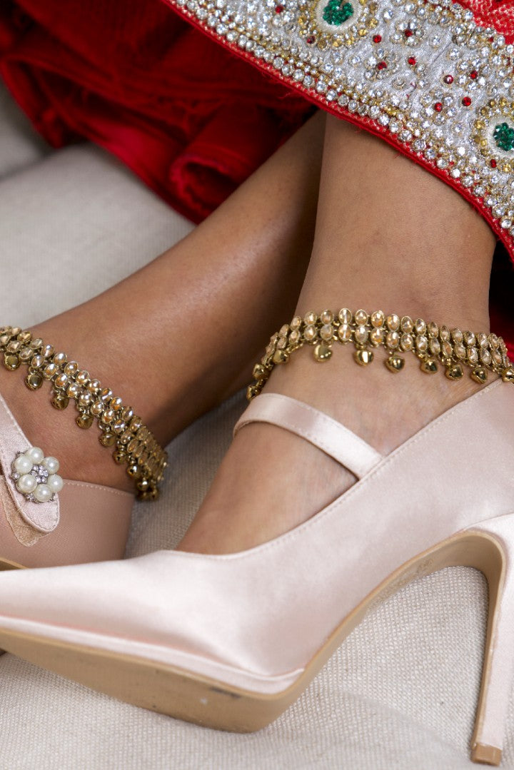 Gold Indian Anklets (Payal) with Bells