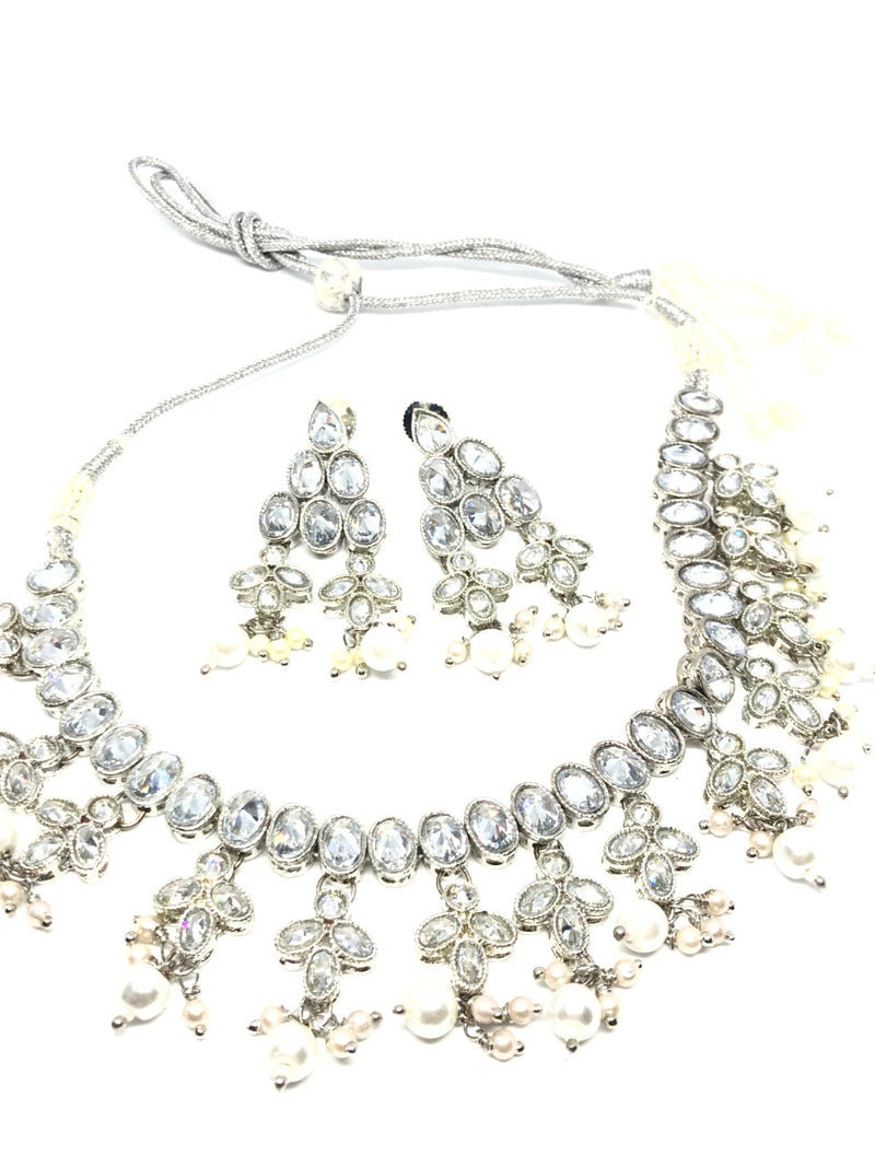 || SAANJH || Silver Necklace & Earrings Set with Oval Crystals and Pearls