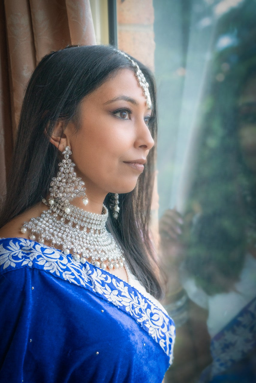 || JASMINE || Bridal Necklace with Earrings & Tikka and White Pearls & Stones